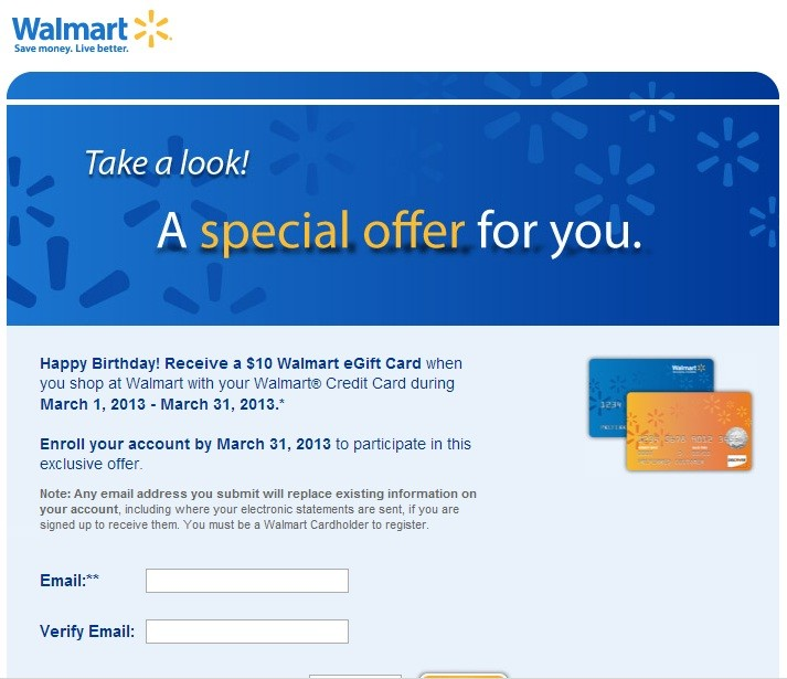 Walmart E-card Offer Received For Birthday