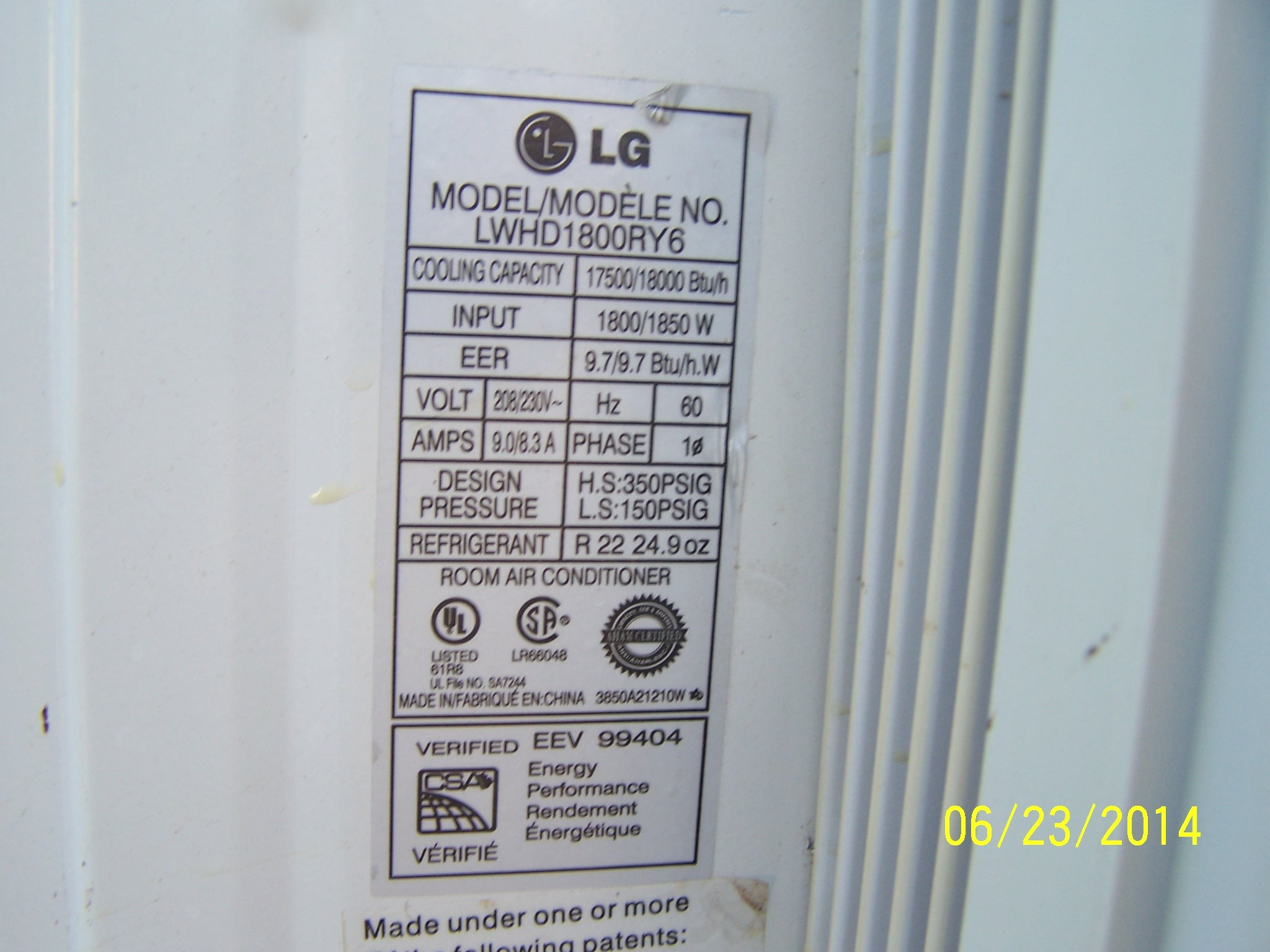 Lg Window Air Conditioner Model Lwhd1800ry7 How Many Btu LG  #B5BA11