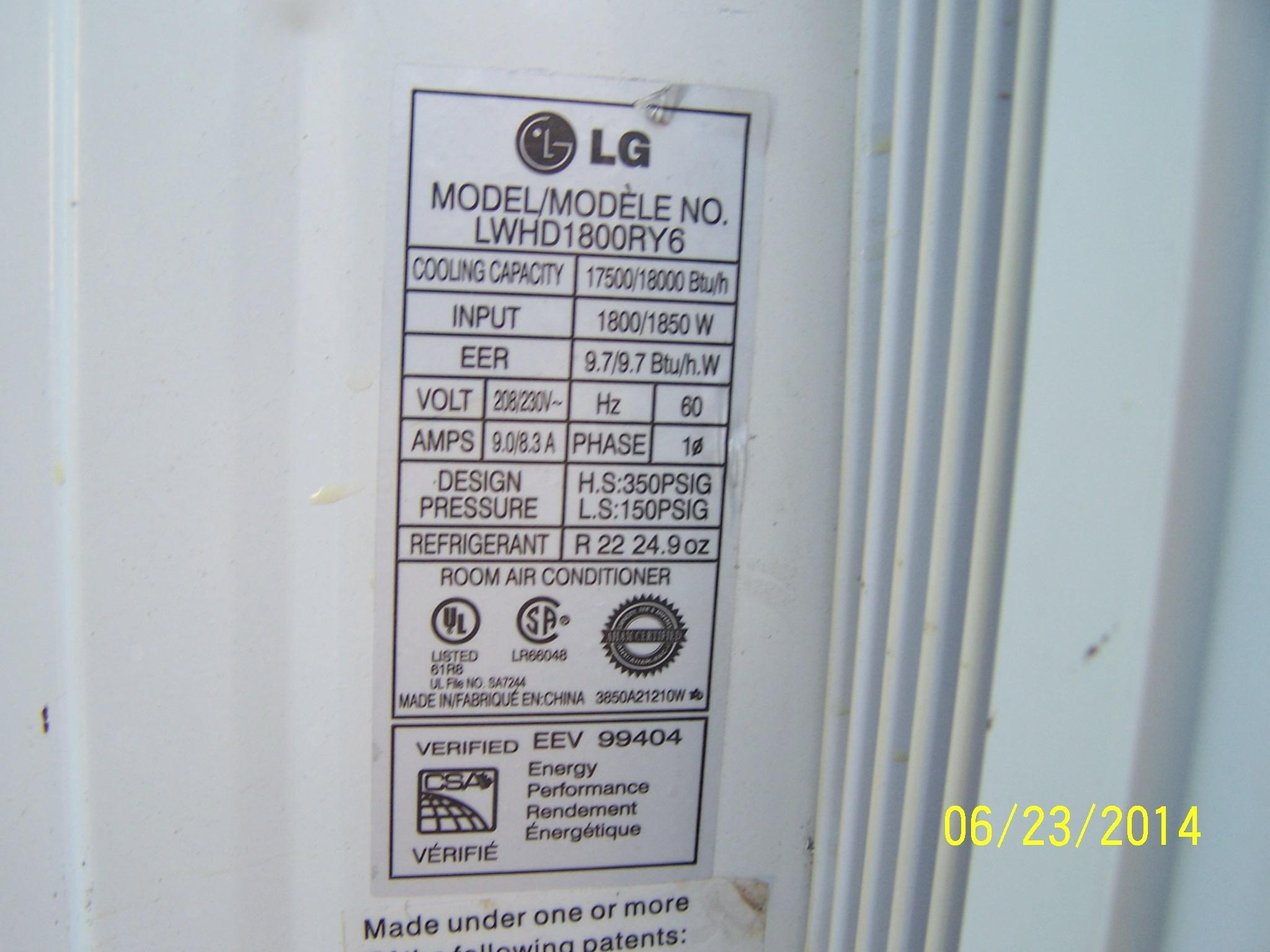 Lg Window Air Conditioner Model Lwhd1800ry7 How Many Btu LG  #B5BA11