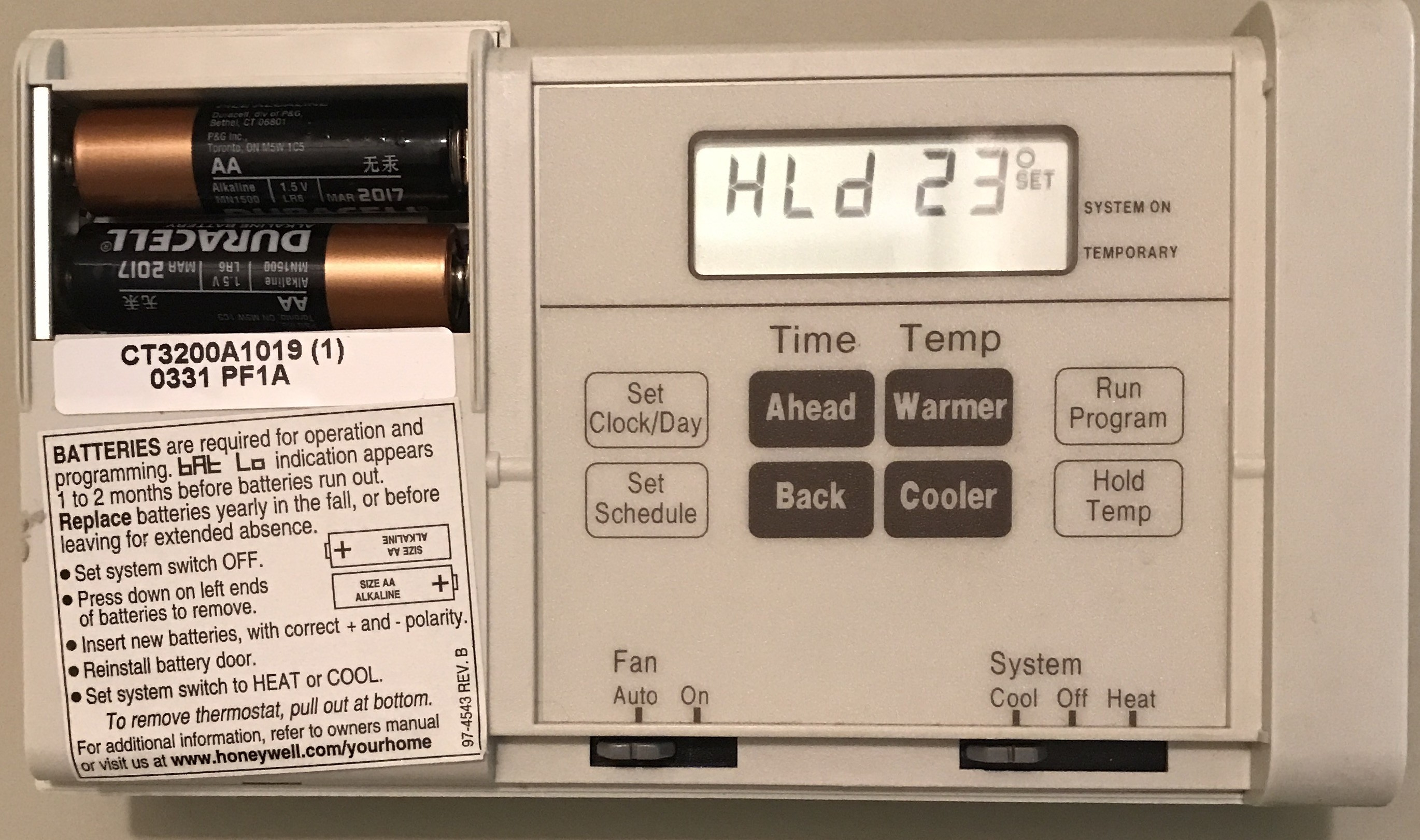 Thermostat control panel: warmer and ahead buttons dont work.