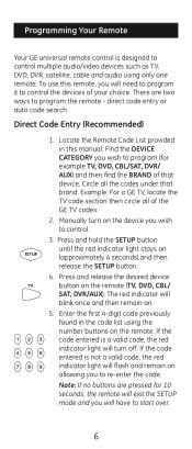 Ge Universal Remote 24914 Codes List